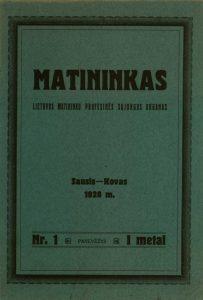 """2.Žurnalo """"Matininkas"""" viršelis. Iš Panevėžio kraštotyros muziejaus rinkinių"""