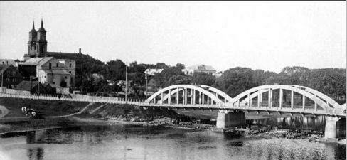 1. Senojo Panevėžio panorama su Laisvės tilto fragmentu. Apie 1925–1940 m.