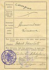 Gabrielės Petkevičaitės pasas, išduotas 1920 m. liepos 24 d. (reversas). LLMA F11, ap. 1, b. 4.