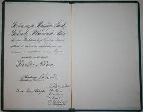 Raštas apie XII-osios rinktinės 2-jo Šaulių būrio Garbės Nario vardo suteikimą Gabrielei Petkevičaitei-Bitei. 1932 m. lapkričio 15 d. LLTI MB