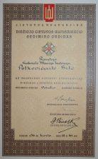 Gabrielės Petkevičaitės-Bitės apdovanojimo Didžiojo Lietuvos Kunigaikščio Gedimino ordino Vado ženklu už nuopelnus Lietuvai pažymėjimas. 1936 m. kovo 18 d. LLTI MB F30-868