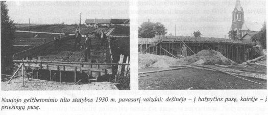 13. Naujojo Miežiškių gelžbetoninio tilto statybos 1930 m. pavasarį