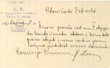 Pranešimas Gabrielei Petkevičaitei apie jos išrinkimą atstovu į Seimą nuo V apygardos. 1922 m. lapkričio 9 d. LLTI MB F30-95