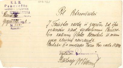 Panevėžio miesto ir apskrities Komendanto raštas pil. Petkevičaitei dėl Panevėžio kalinių globos komiteto sudarymo. 1921 m. gegužės 10 d. LLTI MB F30-920
