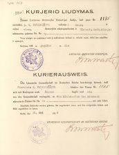 Kurjerio liudymas, išduotas G. Petkevičaitei 1924 m. gegužės 21 d. LLTI MB F30-867