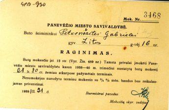 Panevėžio miesto savivaldybės raginimas Gabrielei Petkevičaitei sumokėti nustatytą butų mokestį. 1939 m. kovo 21 d. LLTI MB F30-930