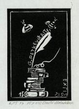 Mašniakova, Dovilė. Ex libris G. Petkevičaitei – 150. 2/15 X3. 9,5 x 14,0 cm