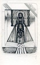 Alfonsas Čepauskas. Ex libris Lietuvos rašytojai: J. Žemaitė. P. Višinskis. G. P. Bitė. In memoriam. 1988. C3. 11,5 x 8 cm. PAVB F65-34