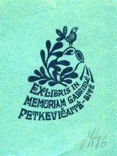 Henrikas Mazūras. Ex libris in memoriam Gabrielė Petkevičaitė-Bitė. 1986. P7. 5 x 4 cm. PAVB F90-4