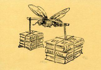 Zigmantas Plėštys. Ex libris G. Petkevičaitės-Bitės muziejus Panevėžyje. 1986. P1. 9 x 8 cm. PAVB F84-7