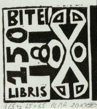 Dijokaitė, Alma. Ex libris Bitei – 150. 2010. 1/5 X3. 6,5 x 6,5 cm