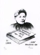 """Zigmantas Plėštys. Ex libris """"Aido"""" draugijai 100. Gabrielė Petkevičaitė-Bitė 1861-1943. 2006. P5. 9 x7 cm. PAVB F84-237"""