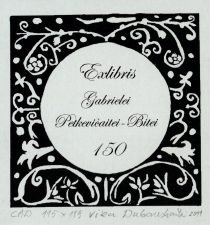 Dubauskaitė, Vika. Ex libris Gabrielei Petkevičaitei-Bitei – 150. 2011. CAD. 11,5 x 11,5 cm