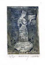 Joana Danutė Plikionytė. Ex libris Lietuvos rašytojai. In memoriam Petkevičaitė-Bitė 1861-1943. C3. 10,5 x 7 cm. PAVB F65