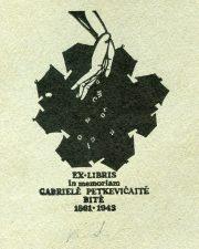 Rimantas Ridikas. Ex libris in memoriam Gabrielė Petkevičaitė-Bitė 1861-1943. 1986. X3. 10 x 6,5 cm. PAVB F6-11