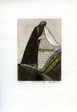 Ona Šimaitytė-Račkauskienė. Ex libris Gabrielė Petkevičaitė-Bitė – 140. 2002. C3. 8 x 5,5 cm. PAVB F45