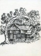 Irena Liogienė. Ex libris G. Petkevičaitės-Bitės muziejus Panevėžyje. 1986. Tušas. 10 x 10,5 cm. PAVB F47-4