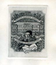 Marius Liugaila. Ex libris Panevėžio valstybinė gimnazija. In memoriam Gabrielė Petkevičaitė-Bitė. 1986. C3. 11 x 8,5 cm. PAVB F65-83