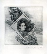 Marius Liugaila. Ex libris in memoriam rašytoja Gabrielė Petkevičaitė-Bitė. Puziniškis. 1988. C3. 10 x 9,5 cm. PAVB F65-85