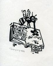 Povilas Šiaučiūnas. Ex libris in memoriam G. Petkevičaitė-Bitė. 1986. X3. 10,5 x 3,5 cm. PAVB F25-197