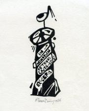 Povilas Šiaučiūnas. Ex libris in memoriam G. Petkevičaitė-Bitė. 1986. X3. 8,5 x 6,7 cm. PAVB F25-197