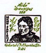 """Galdikas, Valerijonas. Ex libris. """"Aido"""" draugijai-100. Gabrielė Petkevičaitė-Bitė. Homo sapiens ad astra. 2006. X 3/2.11,2 x 8,0 cm. PAVB F37"""