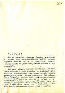 """Spektaklio """"Komivojažerio mirtis"""" programėlė. PAVB FKV-14/308"""