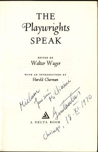 The playwrights speak edited by Walter Wagner