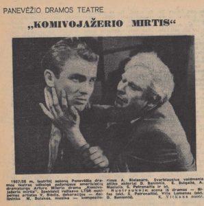 """Panevėžio dramos teatre – """"Komivojažerio mirtis"""". Literatūra ir menas, 1958, birž. 14"""