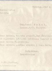 4.Dokumentas teatro organizacijos klausimu. 1940 m. Nuotrauka iš privačios kolekcijos