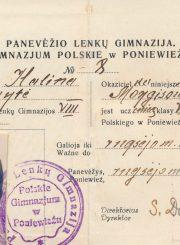Panevėžio lenkų gimnazijos VIII klasės moksleivės Halinos Moigytės mokinio pažymėjimas. Panevėžys. 1936–1937 m. PAVB F96-112