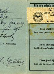 Emilijos Šukytės-Juzulėnienės Lietuvos aeroklubo nario rėmėjo bilietas. Kaunas. 1934 m. PAVB F116-3