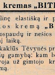 """[Venanto Morkūno laboratorijoje """"Bitelė"""" gaminamo avalynės kremo """"Bitelė"""" reklama] // Panevėžio balsas. 1935, vas. 10, p. 4"""