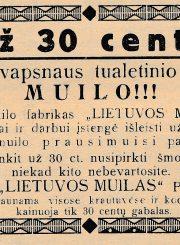 """[Pagal Venanto Morkūno receptūrą gaminto muilo """"Bitelė"""" akcinėje bendrovėje """"Lietuvos muilas"""" Panevėžyje reklama] // Panevėžio balsas. 1934, lapkr. 18, p. 4"""