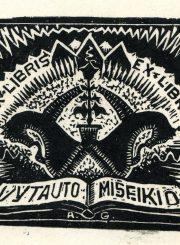 Antanas Gabrėnas. Exlibris Vytauto Mišeikio. PAVB F87-19