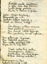 """Nijolės Jankutės užrašų knygutės fragmentas. Eilėraštis """"Pavasaris Pomeranijos aukštumose"""". 1945 m."""