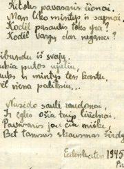 """Nijolės Jankutės užrašų knygutės fragmentas. Eilėraščio """"Pavasaris Pomeranijos aukštumose"""" tęsinys. 1945 m."""