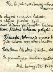 """Nijolės Jankutės užrašų knygutės fragmentas. Eilėraščio """"Kai svetimos alyvos žydi..."""" tęsinys. 1945 m."""
