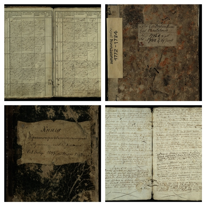Pušaloto bažnytinių metrikų knygų fragmentai