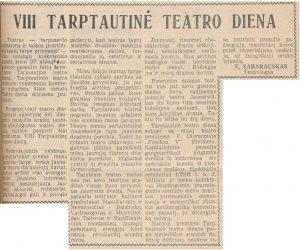 VIII Tarptautinė teatro diena. Panevėžio tiesa, 1969, kovo 28
