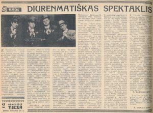 Diurenmatiškas spektaklis. Panevėžio tiesa, 1969, balandžio 26