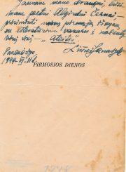 """Knygos """"Pirmosios dienos"""" autorės Liūnės Janušytės dedikacija Algirdui Černai. Panevėžys. 1949.06.11. PAVB F61-3"""