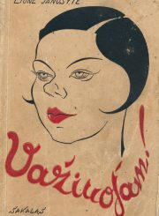"""Janušytė, Liūnė. Važiuojam! / Liūnė Janušytė ; [viršelis Bor-Jero]. - Kaunas : Sakalas, 1936 (Kaunas : """"Raidės"""" sp.). - 188, [1] p."""