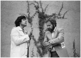 Mano pirmas susitikimas. Stasys ir režisierius Saulius Varnas. Panevėžys, 1989 m.