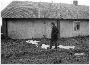 Prie tėvų namo. Lepšių kaimas, 1989 m.