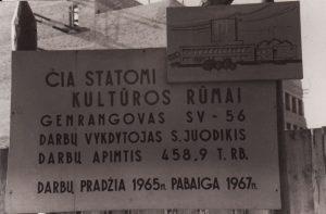 Informacinis stendas: Panevėžio dramos teatro statyba. 1966 m. vasario 19 d. Fotogr. Kazimiero Vitkaus. PAVB FKV-451/3