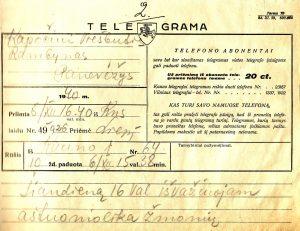 1940 m. gruodžio 6 d. telegrama: iš Kauno į Panevėžį išvyksta 18 žmonių. Tąsyk į Panevėžį atvyko šiek tiek mažesnė grupė jaunųjų aktorių – 13 su vadovu Juozu Miltiniu. PAVB FKV-18/8