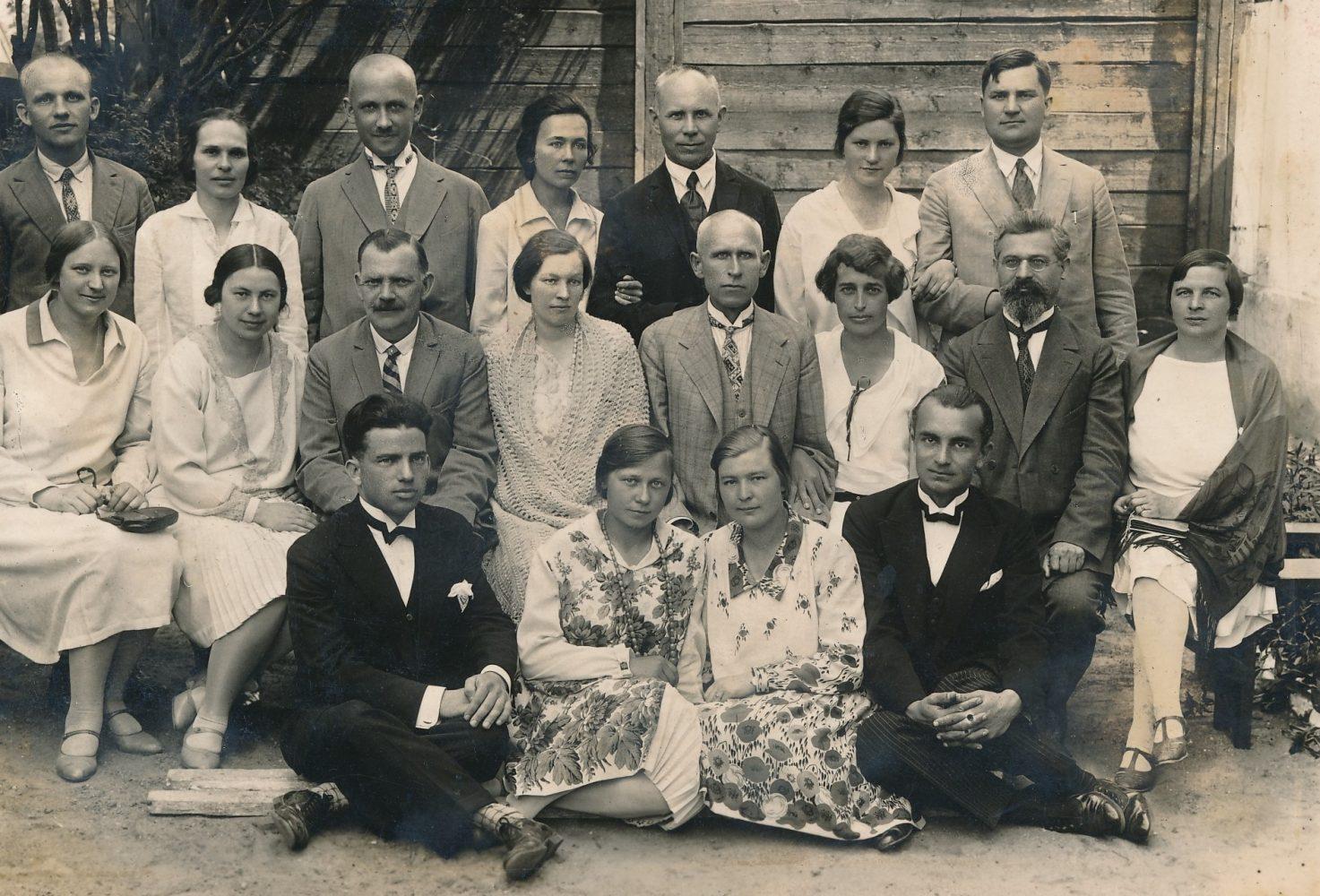 Panevėžio mokytojų seminarijos 10-mečio minėjimas. 1-oje eilėje iš kairės 1-as Juozas Mičiulis, iš dešinės 1-as Juozapas Žilvitis; 2-oje eilėje iš kairės: Aleksandra Šilgalytė, Bronislava Aleksandravičiūtė (Grinienė), Pranas Giedravičius, Paulina Žalnieriūnaitė (Jankevičienė), Juozas Balčikonis, Herta Calmanaitė, Justinas Jankevičius, Anelė Strepekienė; 3-ioje eilėje iš kairės: Mykolas Blusys, Kazė Žėkonytė, Jurgis Elisonas, Elena Markevičiūtė, Juozas Zikaras, Veronika Kalendaitė (Būtėnienė), Alfonsas Gilvydis. Fotogr. Iciko Frido. Panevėžys. 1929.06.17. PAVB F80-501