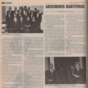 Aleknaitė-Bieliauskienė, Rita. Aksominis baritonas // Literatūra ir menas, 1999, lapkr. 6, p. 10–11.