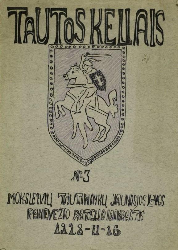 """1. Laikraščio """"Tautos keliais"""" viršelis. 1928 m. Iš Panevėžio kraštotyros muziejaus rinkinio"""